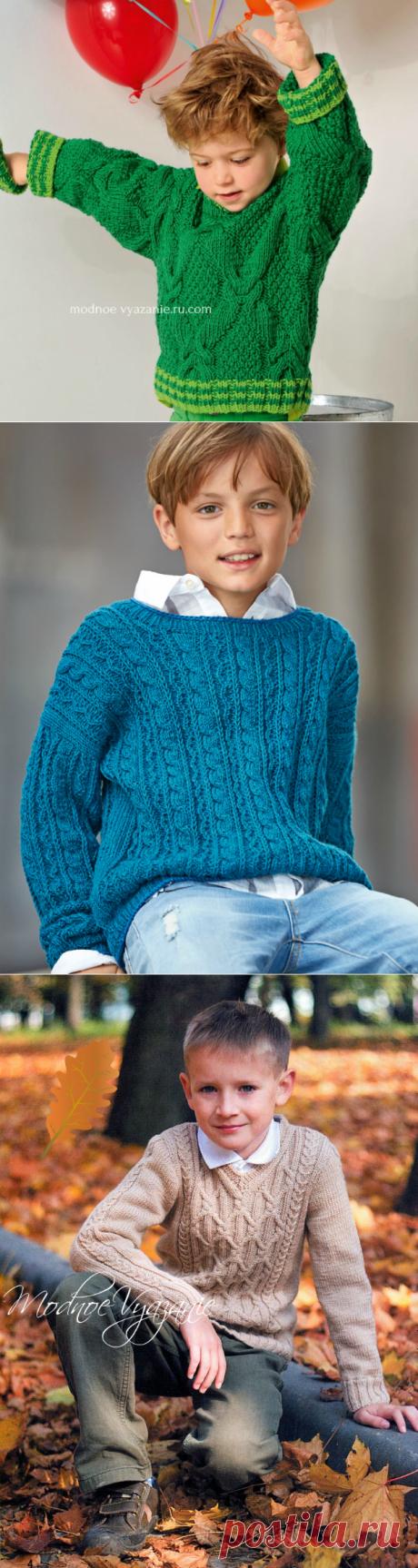 Пуловеры для мальчиков с аранами и косами   - Modnoe Vyazanie ru.com
