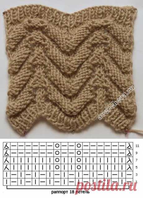 узор 370 двухсторонний узор для шарфа | каталог вязаных спицами узоров