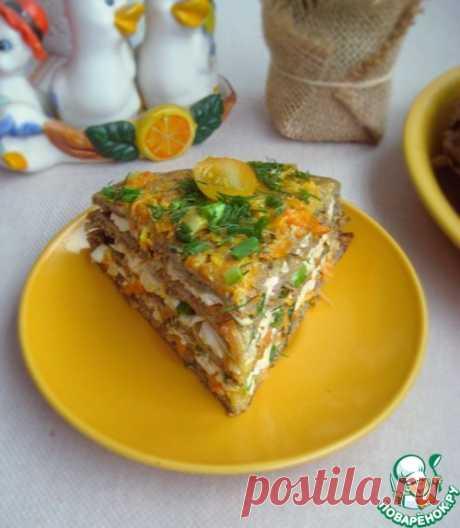 Закусочный баклажанный торт с плавленым сыром – кулинарный рецепт