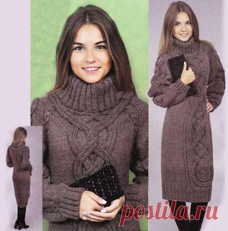 Теплое платье на 50 размер со славянской косой и высоким воротником спицами – схема вязания с описанием