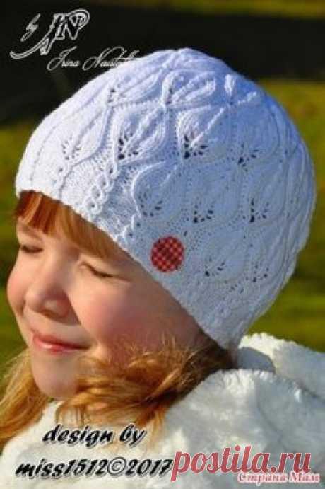 """. """"Snowdrop"""" (подснежники) - ажурная шапочка спицами в подарок. Мой дизайн + схема + описание - В.Г.У. - Вязаные Головные Уборы - Страна Мам"""