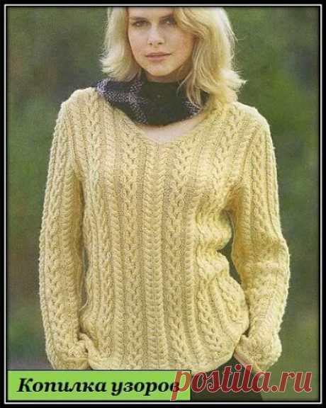 Копилка Узоров / Красивый узорный ряд для вязания пуловера или свитера спицами | Яндекс Дзен