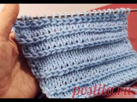 №163  Аккуратная горизонтальная косичка спицами  на лицевой глади (для отделки)