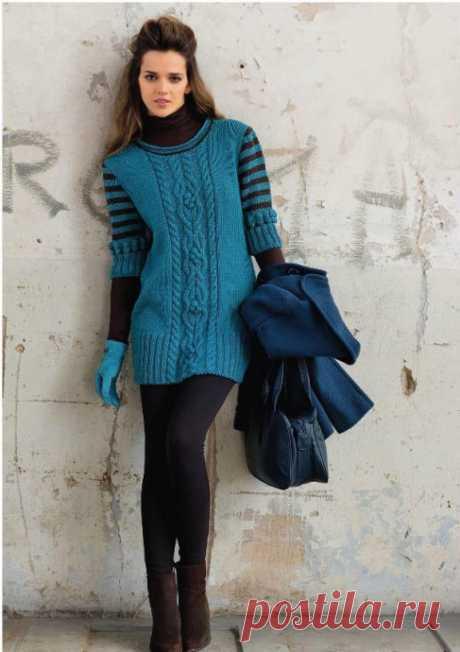 Удлиненный сине-зеленый пуловер из категории Интересные идеи – Вязаные идеи, идеи для вязания