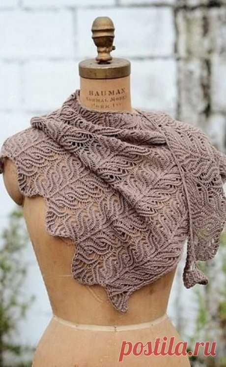 Красивый узор для вязания палантина (Вязание спицами) Красивый узор для вязания палантина Схема вязания