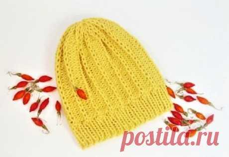 Модные красивые шапки, связанные спицами (с описанием вязания) | Идеи рукоделия | Яндекс Дзен