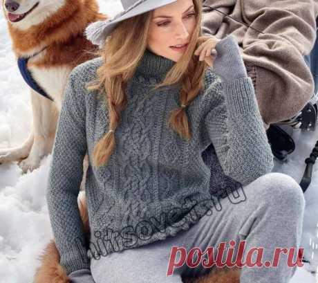 Модная модель женского пуловера с косами и шишечками со схемой и бесплатным описанием вязания - Хитсовет