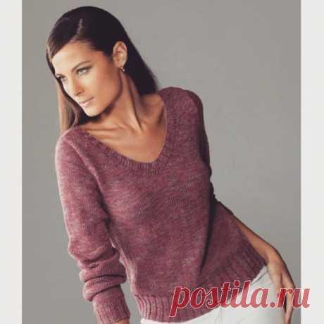 Классический пуловер лицевой гладью с резинкой (Вязание спицами) – Журнал Вдохновение Рукодельницы