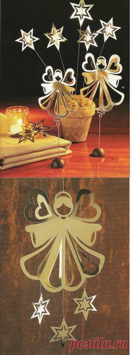 Рождественские украшения из бумаги, картона, фольги, блесток, бусин....
