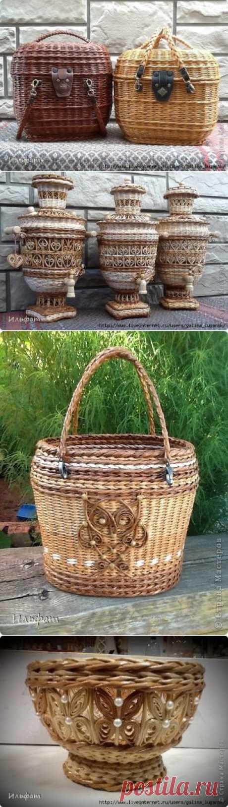 Чудесные работы мастера по плетению из газетных трубочек Ильфата.