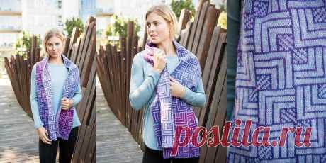 Шарф двусторонним вязанием Square Space Шарф в технике двустороннего вязания спицами. Потрясающе красивый шарф, связанный в технике двустороннего вязания спицами, схемы и описание.