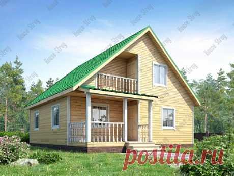 Дом из бруса с большим крыльцом 8х9 Гик - строим в Москве и Питере