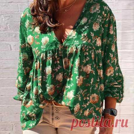Женская блузка в стиле бохо, Элегантная блузка с цветочным принтом и рукавами фонариками, с v образным вырезом, весна лето 2020