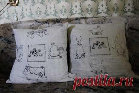 наволочки из льна с котами-знаками зодиака
