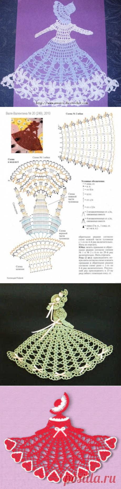 Вязание крючком плоских куколок для аппликаций _ брелков _ закладок _ декора _ Схемы