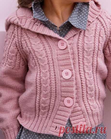 Кофта с капюшоном спицами. Jacket with hood spokes | Вязание для всей семьи