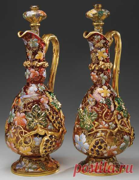 highvictoriana: A pair of Moser decorated...