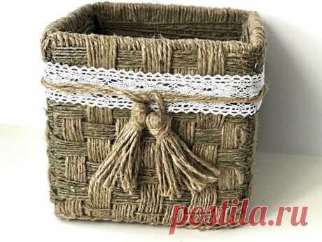 Плетем корзинку из джута своими руками | Журнал Ярмарки Мастеров