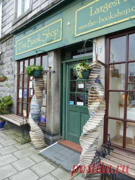 The Bookshop, located in Wigtown, Scotland, is Scotland's largest secondhand bookshop with over a mile of shelving supporting roughly 65,000 books.