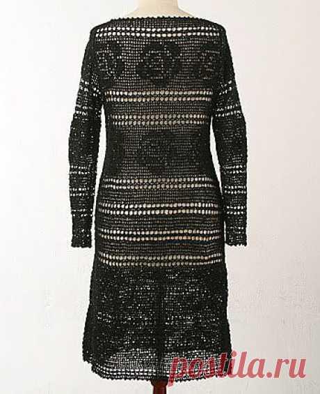 черное платье крючком в филейной технике, хорошие схемы