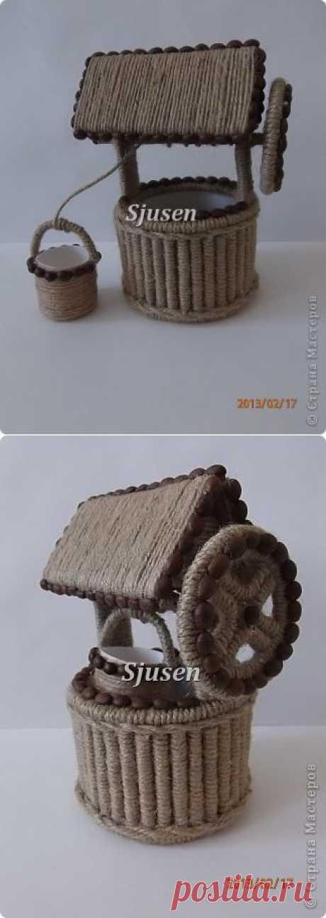 Свит-дизайн. Кашпо колодец и велосипед из шпагата и коктейльных трубочек