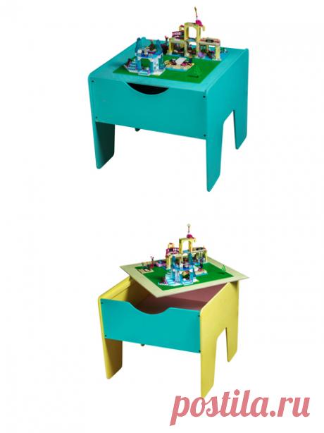 LEGO стол+ полотно цветной Этот стол позволит содержать в порядке весь конструктор, состоящий из десятков или даже сотен мелких элементов. На столешницу выкладывается специальное полотно с ячейками для LEGO, а лишние детали можно быстро убрать в большой ящик.    Основные преимущества:  стол имеет оптимальные размеры, подходит для игры вдвоем;