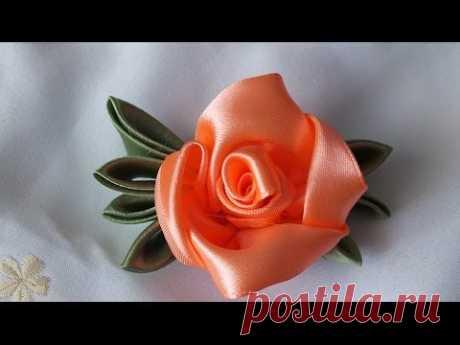 Цветок из атласных лент за 5  мин просто быстро красиво - YouTube