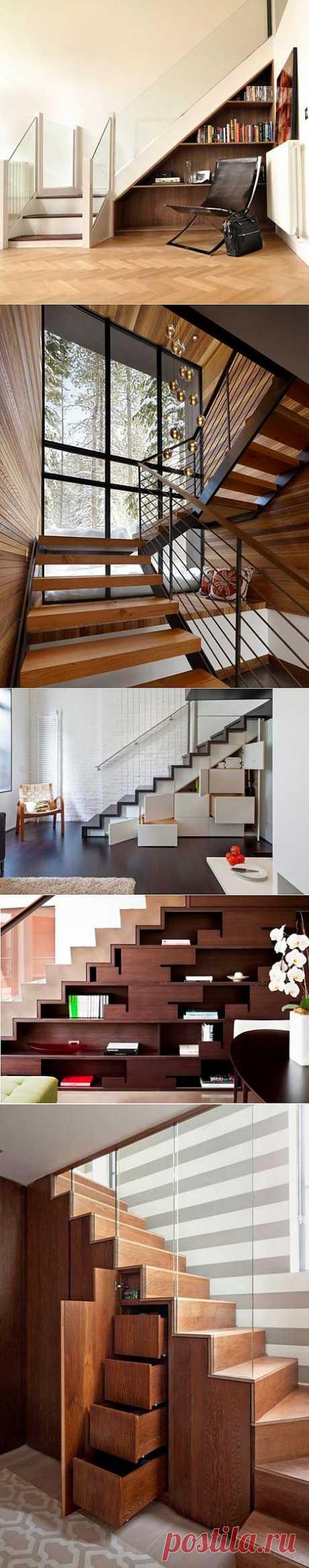 10 современных идей для хранения под лестницей.