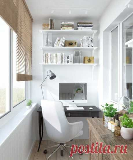Уютный домашний офис на балконе.