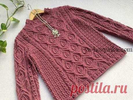 Джемпер цвета пыльной розы Очень красивый пуловер спицами. Красивый узор для женского свитера спицами