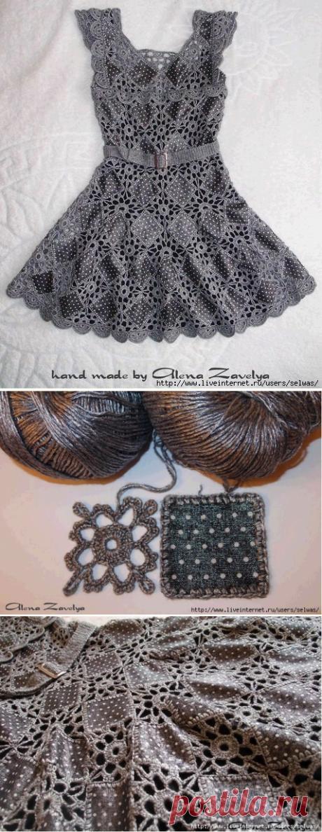 Платье-восторг из кусочков ткани и ажурных мотивов...