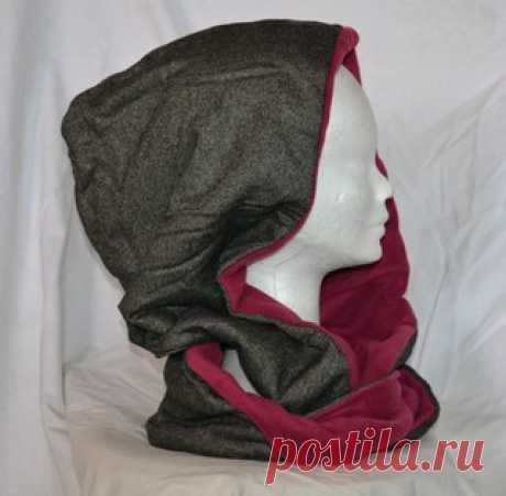 Шьем шарф-хомут с капюшоном  Как сшить капюшон- хомут. Модный головной убор шарф-хомут с капюшоном представляет собой сшитый по кругу шарф-трансформер. Его называют еще шарф-капор.