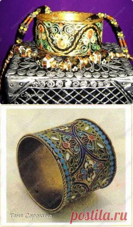 Золотой браслет, инкрустированный цветными эмалями. Пейп-арт. Мастер-класс. | Страна Мастеров