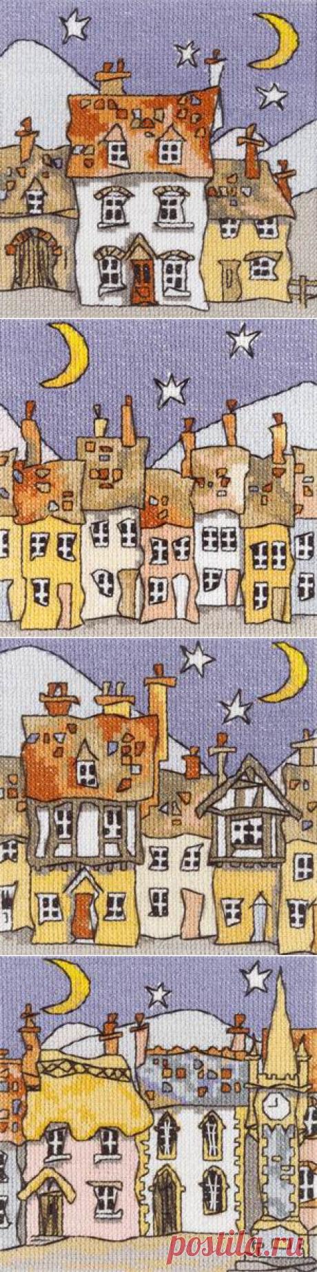 Схемы для вышивки от MICHAEL POWELL. Серия Мини Коттеджи