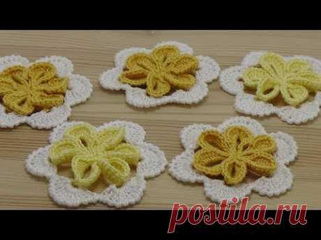 Вязание крючком ЦВЕТКА с объемной серединкой flowers crochet
