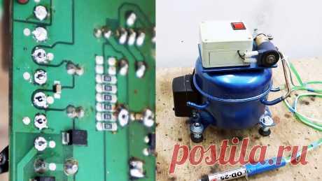 Как сделать мощный оловоотсос из компрессора холодильника При ремонте плат возникает необходимость выпаивать компоненты. Для этого требуется удалять расплавленный припой на каждой отдельной ножке. Быстрее и удобней всего это делать оловоотсосом. Такое устройство можно собрать на базе компрессора от холодильника и электромагнитного клапана для