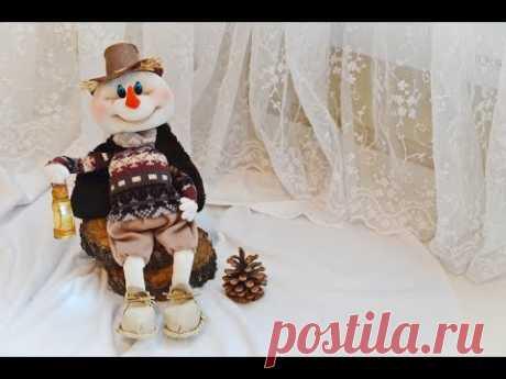 (477) Винтажный снеговик из колготок / how to make a snowman - YouTube