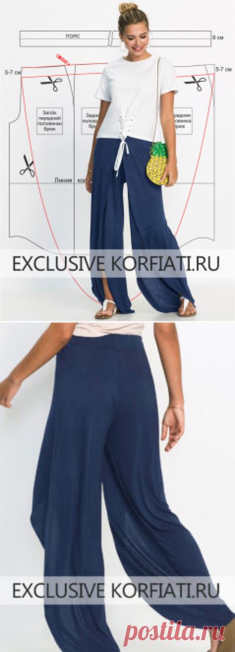 Выкройка трикотажных брюк с запахом от Анастасии Корфиати