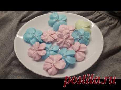 Цветочки из безе проще некуда для украшения торта и десерта | Безе - YouTube