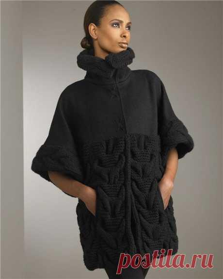 Пальто спицами Модное пальто связанное спицами