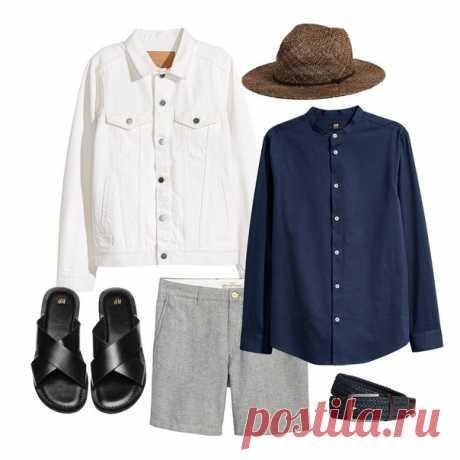 Дело в шляпе! Придайте изысканности вашему образу, дополнив его рубашкой с воротником-стойкой и белой джинсовой курткой. #HMMan