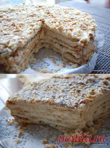 Торт «Наполеон» из слоено-рубленого теста.