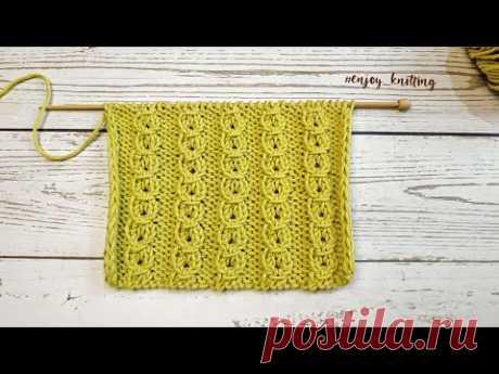 КРАСИВЫЙ Узор Спицами (резинка) из обвитых петель | How to knit Coffee Bean stitch