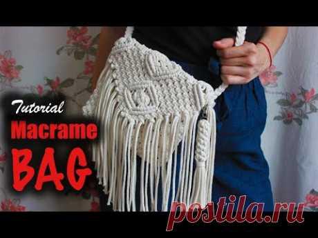 Tutorial Macrame BAG | Easy DIY for Macrame Beginners - Используемый трикотажный хлопковый шнур - 4 мм Основная веревка - 2 метра 24 веревки по 6 метров Ремешок: 9 веревок по 3 метра Размер ремешка: 110 см Брелок: 6 веревок по 120 см Окончательный размер сумки: 20 x 19 смYouTube