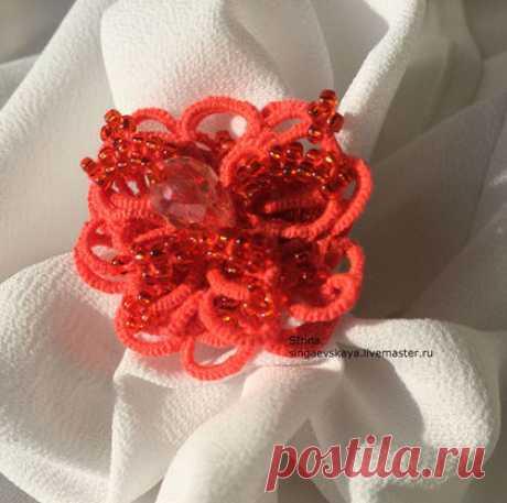 Купить Кружевное кольцо фриволите - коралловый, фриволите, анкарс, кольцо, кольцо ручной работы