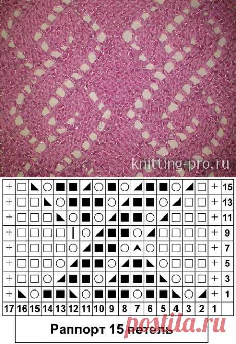 Ажур с платочным ромбом - Электронный журнал по вязанию на спицах
