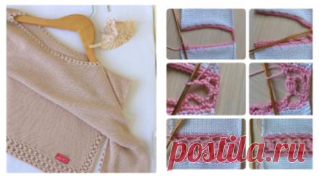 Она взяла свой старый свитер и сделала несколько разрезов. Результат — дизайнеры в шоке!  Мне кажется очень интересно смотрится! Кроме того, прекрасный способ обновить или расширить вещь, если стала узковата. (С.З.)  Ажурной дорожкой можно не только обработать края, но и использовать для …