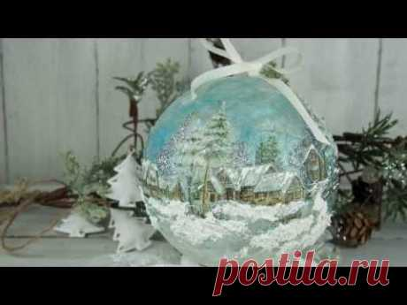 με decoupage - Christmas ball with decoupage