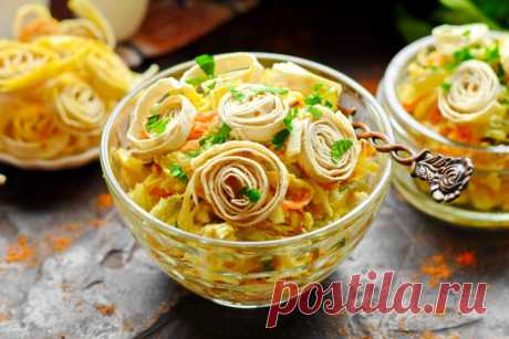 Салат с лавашом и курицей – рецепт с фото