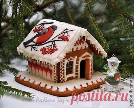 """""""Снегирь"""" пряничный домик - оригинальный подарок на новый год - пряничный домик"""